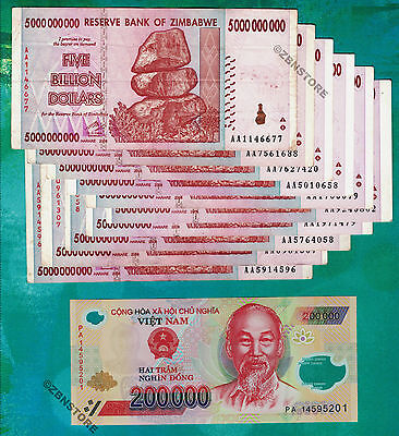 10 x 5 Billion Zimbabwe Dollars + 1x 200,000 Vietnam Dong Banknotes VND Currency