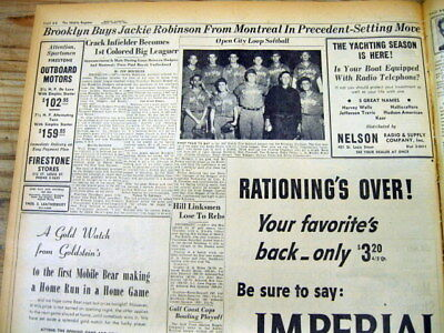 1947 hdlne newspaper JACKIE ROBINSON signs as 1st NEGRO in MAJOR LEAGUE BASEBALL