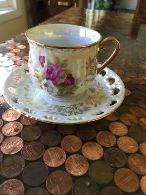 Roses And Gold Lusterware Gold Trim Tea Cup and Saucer