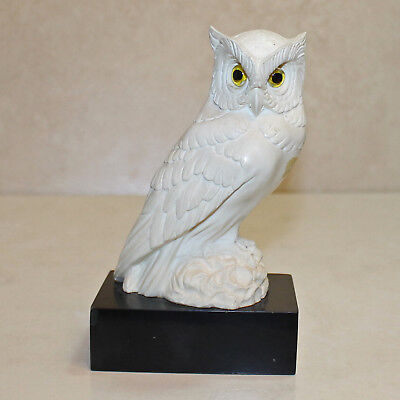 Giannelli White Alabaster Carved Owl Figurine Sculpture, 6'H, AS IS