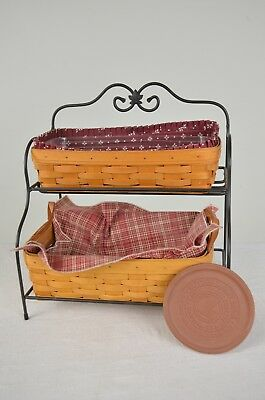 Longaberger Bread Baskets and Classic Basket with Stand