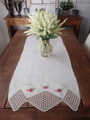 """Pretty Ribbon Roses ANTIQUE c1900 Linen & Lace Table Runner 51"""" x 19"""