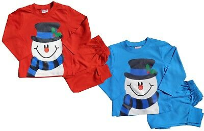 Christmas Snowman Pyjamas Cotton Childs Unisex Boys / Girls  2 to 6 Years