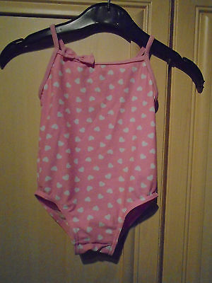 girls pink with small white hearts swimming costume age 12/18 months