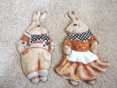 Vintage Hogan Young Pair of Ceramic Stoneware Mr. Mrs. Bunny Wall Art *RARE*
