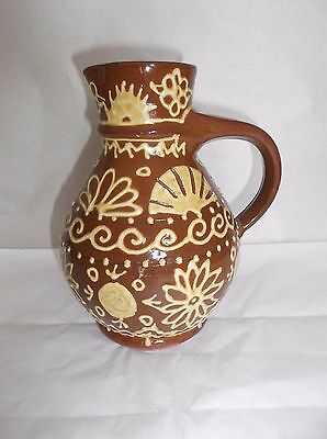 "Plimoth Plantation Slip Ware Red Clay Pitcher, 7"" H, Hand Decorated, USA"
