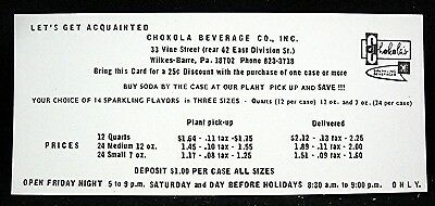 Chokola Beverage Co Wilkes Barre Penna Discount Coupon Price List Old Stock