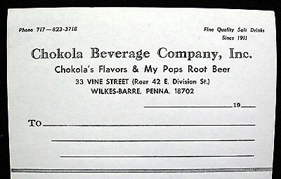 Chokola Beverage Co Wilkes Barre Penna My Pops Root Beer Letterhead Old Stock