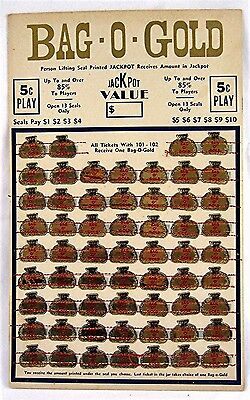 1940s Bag O Gold 5 Cent Play Jackpot Punch Board Gambling Unused Old Store Stock