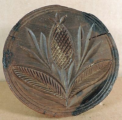 Primitive Carved Wood Butter Press Or Mold - Thistle - Heart