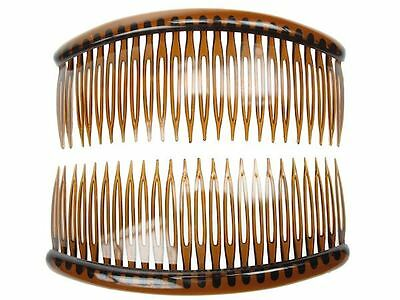 2 x Tort Brown Plastic Large 12cm Side Hair Combs French Twist Slide Grip