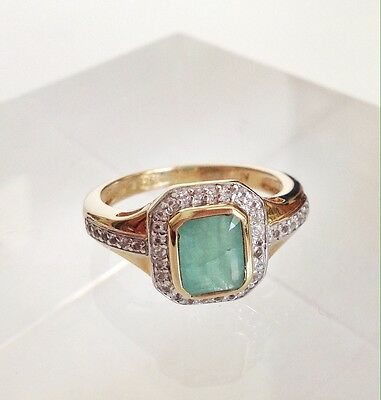 Sterling Silver Real Emerald And Zirconia Gold Color Ring Size 8