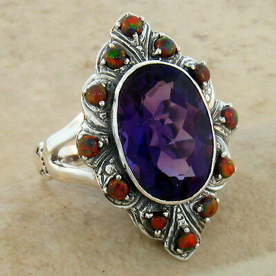 5 Ct Antique Victorian Style Lab Amethyst Opal 925 Silver Ring Size 9.75,   #234