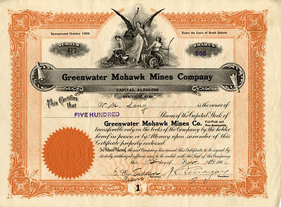 Greenwater Mohawk Mines Company stock certificate