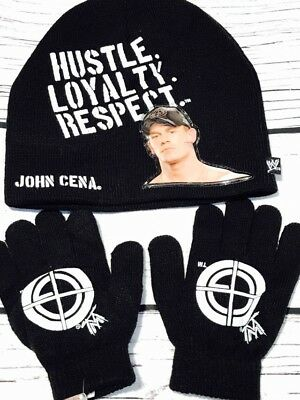 WWE John Cena Knit Hat And Gloves Black Hustle Loyalty Respect Cap Pro Wrestling