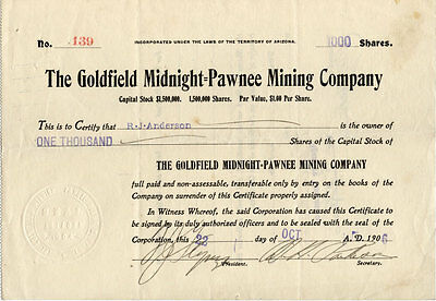 The Goldfield Midnight-Pawnee MIning Company stock certificate