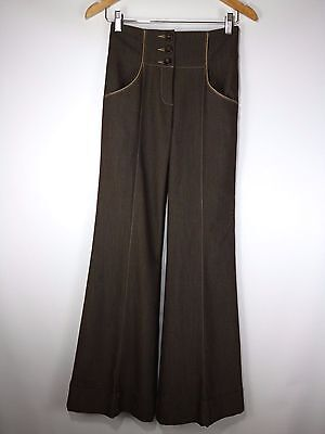 BEBE Wide Leg Cuffed Brown Pants High Waist Trousers Stretchy Size 0