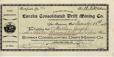 Eureka Consolidated Drift Mining Co. stock certificate
