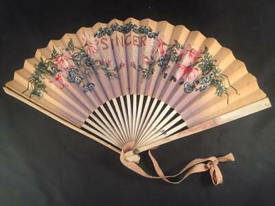 Vintage Antique Advertising Hand Fan by Singer Sewing Machines