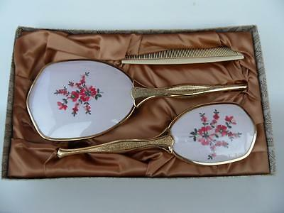 Vintage Boxed Brush Comb & Mirror Dressing Table  Set Embroidered Floral Design