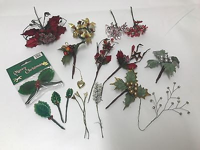 Assorted Craft Christmas Flowers and Holly Leaves