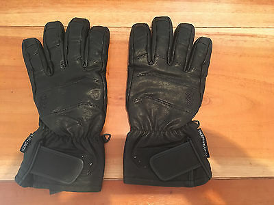 Black Leather Mens Snow Gloves - Ocean & Earth Size L