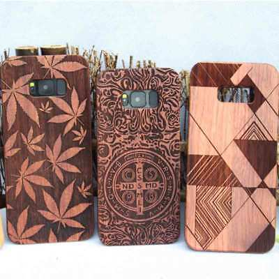 For Samsung S8/S8P Natural Rosewood Wooden Wood Bamboo Phone Case Cover EA C6