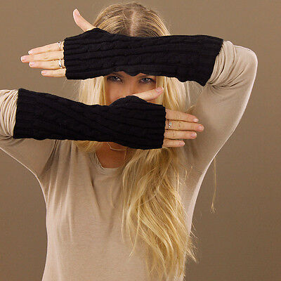 Extra Long Black Knitted Fingerless Gloves Women Ladies Stretchy 30cm Long
