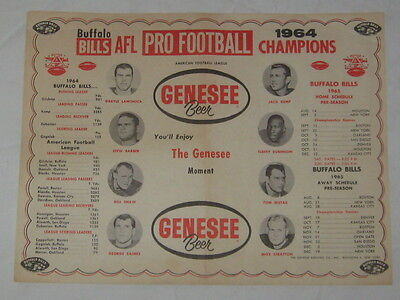 Vintage Genesee Beer Paper Placemat Buffalo Bills AFL Champs w/ Player Photos