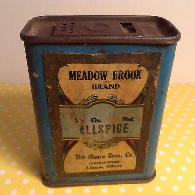 Antique Vtg Meadow Brook Brand Allspice Tin Of The Moore Bros Co Lima Ohio