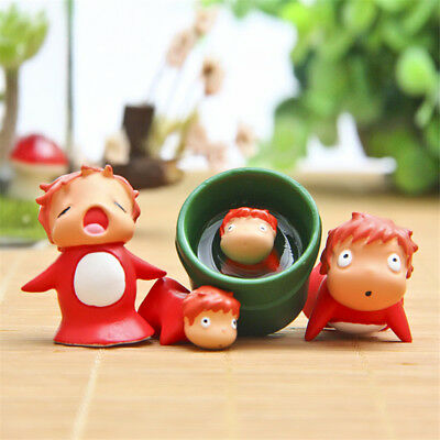 4pcs/set Hayao Miyazaki Ponyo on the Cliff Resin Figure Toy Doll Home Decor
