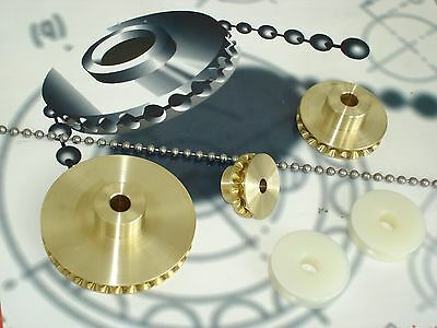 Bead Chain Positive Drive System, 3 Brass Sprockets, Chain, Connectors.