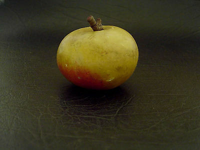 Vintage Early Carved Stone Alabaster Apple Marble Fruit