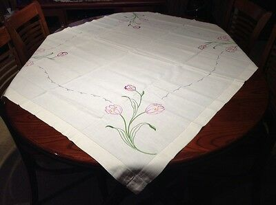 Vintage White Embroidered Tablecloth.