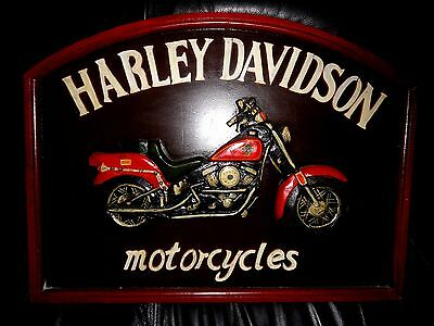 Vintage Collectible Wooden Harley Davidson Motorcycle Wall Sign