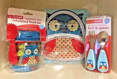 NEW Skip Hop Owl Plate - Fork & Spoon - Insulated Food Jar - Free Shipping!