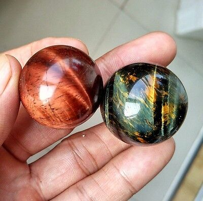 83.7g 2pc Natural Red and Yellow Tiger's Eye Crystal Sphere Ball Healing P0817