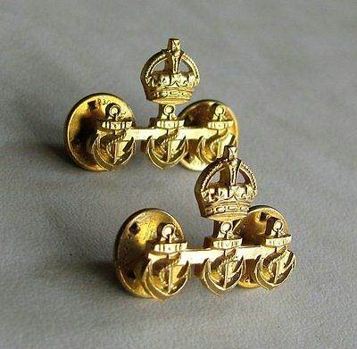 RCN Royal Canadian Navy Chief Petty Officer 1st Class Collar Badges WWII WW2