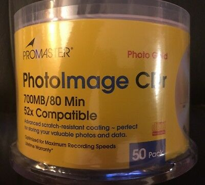 New Unopened Promaster PhotoImage Photo Gold CD-R 50 Pack Spindle 700mb/80min