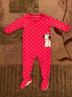 Carter's Baby Girls Fleece Pink & White Footed Pajamas, Size 18 Months