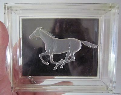 Acrylic Jewelry, Trinket Box w/ Reverse Etched RUNNING HORSE Design