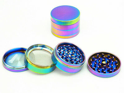50mm Rainbow Stainless Steel Spice Herb Grinder Cylinder 4 Piece Tobacco Mill US