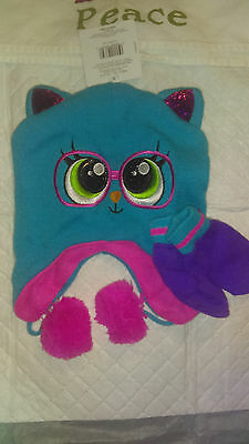 Girls Cat Hat and mittens Set One Size