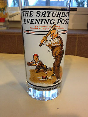 Saturday Evening Post Gramps at the Plate drinking glass