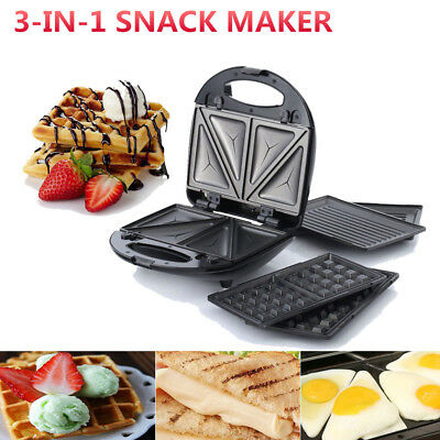 3-In-1 Snack Sandwich Waffle Doughnut Maker Electrical Grill Non Stick