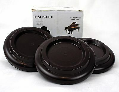 3 x Brown Caster Cups for Grand Piano