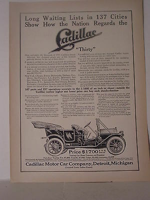 1911 Cadillac  Auto   Ad From Literary Digest Magazine