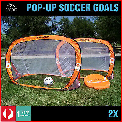 2x Pop Up Soccer Goals Football Net Kids Portable Mini Foldable Pop-Up Orange