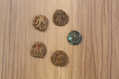 Ancient Vintage Antique Indo Greek Kushan Coin Lot Of 5 Copper Bronze 400 Ad
