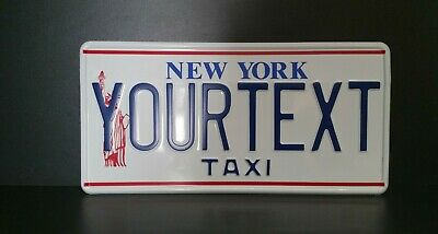 New York Taxi US USA License Plate Number Plate Embossed Custom Alu Border
